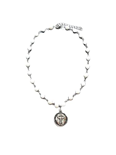 Coin Cross Charm Rosary Beads White Omaha Mall Cheap super special price Choker Chain Necklace