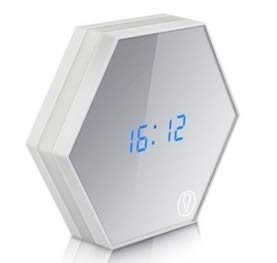 CHENTAOCS Multifunctionele led-digitale wekker-nachtlampje, temperatuurweergave, spiegel, thermometer, touch-sensor, USB-laadtafellamp