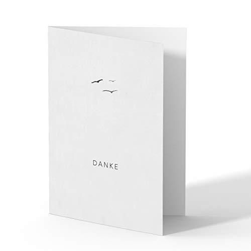 (50 x) Trauer Dankeskarten Danksagung Trauerkarten Beileid Karten Beerdigung Bestattung - Vögel