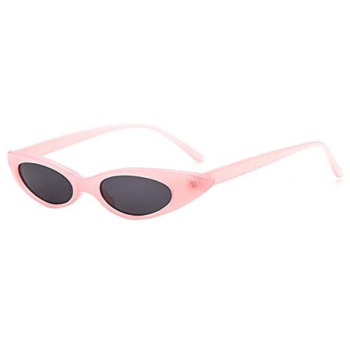 QWKLNRA Gafas De Sol para Hombre Marco Rosa Lente Negra Gafas De Sol Deportivas Polarizadas Gafas De Sol De Ojo De Gato Vintage para Mujer Gafas De Sol con Decoración Ovalada De Hipérbole para Muj
