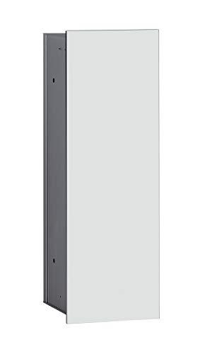 Emco Asis 2.0 inbouw badkamerkast voor wc-borstel, glas zwart, inbouwkast, deurscharnier naar keuze - 973427531