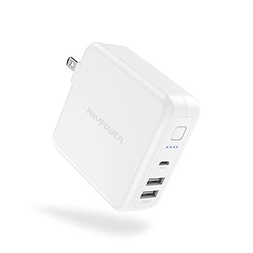 モバイルバッテリー 搭載 USB急速充電器 6700mAh コンセント一体型 USB 2ポート(最大5V/3A)折りたたみ式プラグ 超軽量 残量表示 PSE認証済 多重保護システム iPhone/iPad/Android各機種対応 PB125 ホワイト