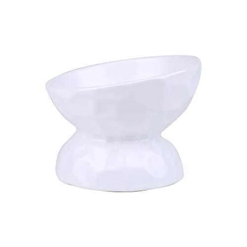 HCHLQLZ Bianco Ceramica Inclinato Alzato Ciotole per Cani Gatti Alzata Ciotola Cane Gatto per Cibo Acqua(200ML)