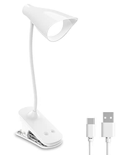 Flexo LED Escritorio, Hepside Recargable USB Luz Flexo de Escritorio con Clip, 3 Modos,3 Niveles de Brillo Lampara, 360° Lampara Flexo Para Oficina, Lectura, Trabajo, Libro (Blanco)