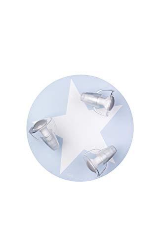 Waldi Leuchten dreiflammige Chambre d'enfant plafonnier avec étoile, Bleu Clair, E14