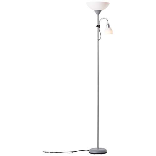 Lámpara de pie led con luz de techo inteligente Tuya, 1 bombilla E27 de 9 W y lámpara de brazo de lectura, 1 bombilla E14 de 4 W, regulable, ajuste de la temperatura de la luz
