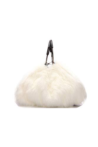 Ulisty Damen Herbst Winter Groß Kunstpelz Schultertasche Kreis Griff Plüsch Handtasche Flauschige Umhängetasche Weiß