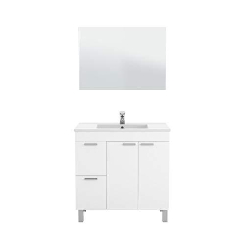 MarinelliGroup Mobile Bagno 80 cm con lavabo in Ceramica e Specchio con cassetti Bianco Fiordaliso