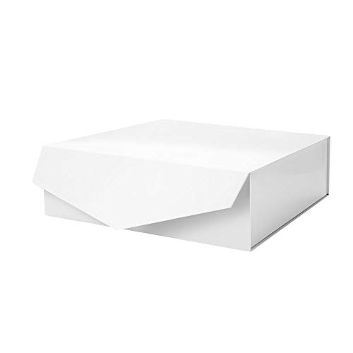 PACKHOME Gift Box 14x9.5x4.5 Inches, Large Gift Box with Lid, Bridesmaid Proposal Box, Sturdy Storage Box, Collapsible Gift Box with Magnetic Closure (Glossy White)