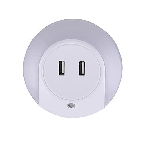 Woodpow LED Night Light Sensor 2 USB Toma de Carga Teléfono móvil Cargador UE EE. UU. Enchufe la lámpara de Noche de 0.5W con el Interruptor para los niños