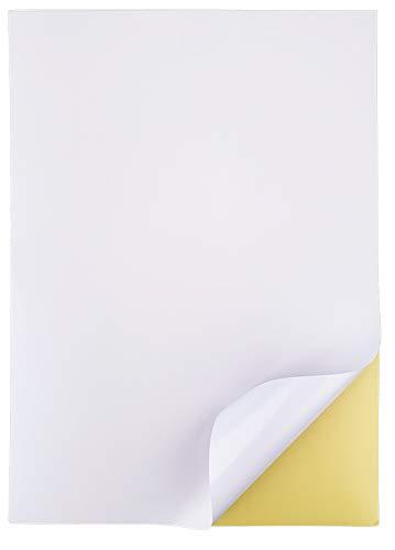 50 Feuilles 210 x 297 mm, A4 Papier Autocollant Imprimante Étiquettes Autocollant Blanc Mat 1 Étiquette par Feuille (1 par feuille 50 feuilles)