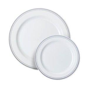 Thali Outlet - 40 Piece Mozaik Plate Set - 20 x White Silver Rim 10' / 26cm Dinner Plates 20 x White Silver Rim 7' / 19cm Starter Plates Strong Reusable Hard Plastic