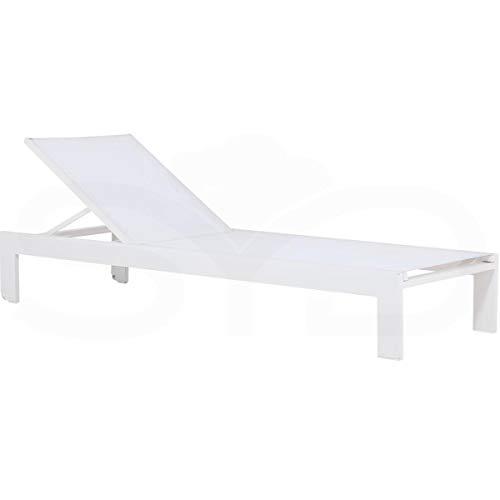 Tumbona Manacor de Aluminio 1ª Calidad y Textileno Batyline Blanco