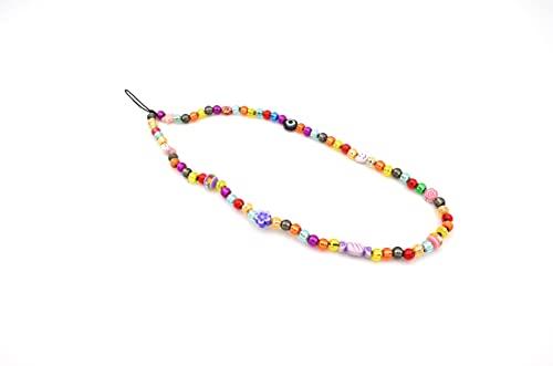 Phone Straps - Laccetto o Tracolla per cellulare con perline e charm colorati (Multicolor Cm 23) Made in Italy