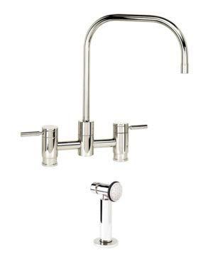 Waterstone 7825-1-PN Fulton Bridge Faucet w/Side Spray Polished Nickel