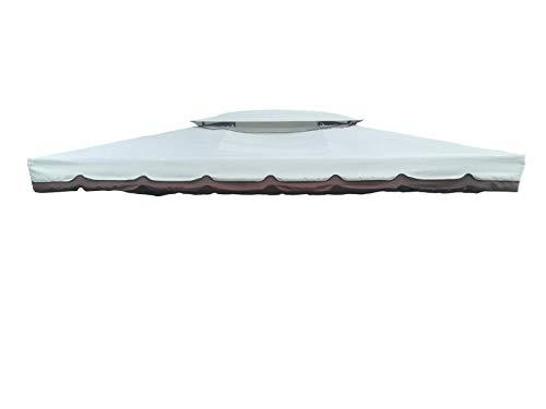BricoShopping Telo di ricambio superiore TOP in sostituzione per gazebo 3x4 3 x 4 ALTO spessore IMPERMEABILE CON SFIATO a camino air vent airvent tetto copertura per esterno 380g/mq con bordura onda