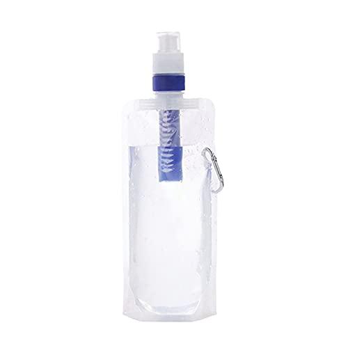 Angmile Bolsa de Filtro de Agua Filtro de Agua portátil Plegable Cantino Bolsa de Filtro de Agua 480ml para Actividades al Aire Libre Senderismo Camping