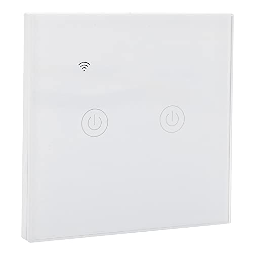 Interruptor inteligente, interruptor de luz inteligente blanco, panel táctil con retroiluminación LED, universal para oficina para luces para ventiladores para el hogar(2 vías, Wifi, rosado)