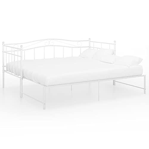 vidaXL Estructura de Sofá Cama Extraíble para Pijamas Auxiliar de Invitados Habitación Mueble Mobiliario Duradero Individual de Metal Blanco 90x200 cm