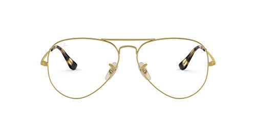 Ray-Ban RX6489 Metal Aviator Prescription Eyeglass Frames, Matte Gold/Demo Lens, 55 mm