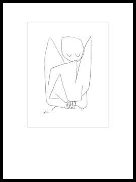 Bild mit Rahmen Paul Klee - Vergesslicher Engel - Digitaldruck - Alimunium schwarz glänzend, 70 x 93.1cm - Premiumqualität - Zeichnung, Engel, Himmelswesen, Expressionismus, Klassische Moderne, Büro, Wohnzimme.. - MADE IN GERMANY - ART-GALERIE-SHOPde
