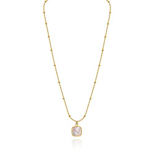Collar Mujer Collar Femenino Nuevo Tendencia Cuadrado Colgante Colgante diseño de Temperamento luz de Lujo joyería Blanca Cadena de clavícula de Madre de Perla Collar Colgantes