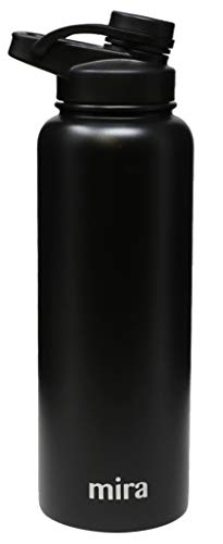 MIRA 40 oz Stainless Steel Insulated Sports Water Bottle   Metal Thermos Flask Keeps Cold for 24 Hours, Hot for 12 Hours   BPA-Free Spout Lid Cap   Black
