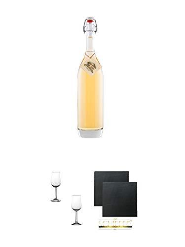 Prinz Alte Marille 0,50 Liter Österreich + Nosing Gläser Kelchglas Bugatti mit Eichstrich 2cl und 4cl - 2 Stück + Schiefer Glasuntersetzer eckig ca. 9,5 cm Ø 2 Stück