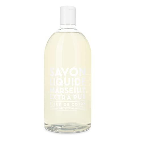 Compagnie de Provence® Flüssigseife Cotton Flower 1.000 ml   Nachfüllgröße   blumiger, zarter und pudriger Duft   Baumwolle   effektiv und sanft