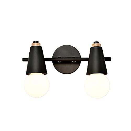 Lampe de miroir nordique avec ampoule pour salle de bain, chambre à coucher, coiffeuse, allée (couleur : noir, taille : double tête)