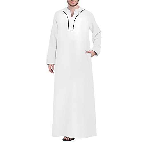 YHQKJ Vestido Casual árabe de los Hombres, Vestido Tradicional en V Cuello en v Manga Larga Vestido Ultra Largo para Casual (Color : D, Size : 3XL)