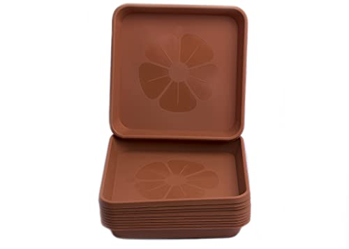 Home Garden Ornaments Set of 10 Square Plastic Plant Pot Saucers Extra Large Drip Trays Flower Indoor Outdoor Garden Planter Tray (20 cm x 20 cm, Terracotta)