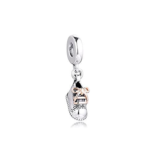 LIIHVYI Pandora Charms para Mujeres Cuentas Plata De Ley 925 Zapato De Bebé Cuelga K Gold DIY Jewelry Gift Compatible con Pulseras Europeos Collars