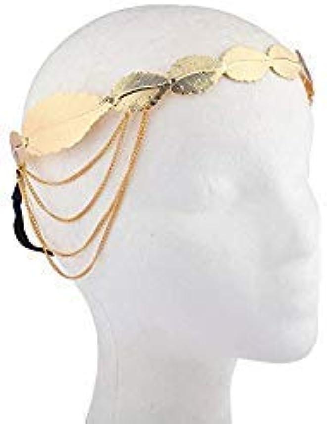 Lux Accessories ゴールドトーン キャストリーフ チェーン 女神 ヘアクラウン ストレッチヘッドバンド