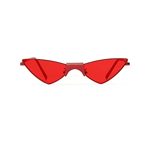 Siyse Gafas de Sol Retro Triangular Cat Eye Red Uv Protection Personality-B