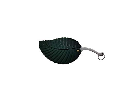 JIUMX Mini Portable Green Leaf Folding Knife Creative Key Accessories Gift,Stainless Steel Folding...