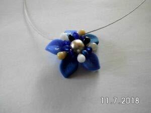Gaide und Petersen Halskette Blume blau aus Glasperlen Handarbeit Kette Perlenkette (Blau8)