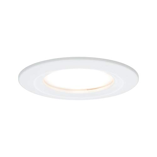 Paulmann 93870 Einbauleuchte LED Coin flache Einbaustrahler Slim Deckenspot rund 3x6,8W Weiß Einbaulicht dimmbar IP44 spritzwassergeschützt, Weiß matt