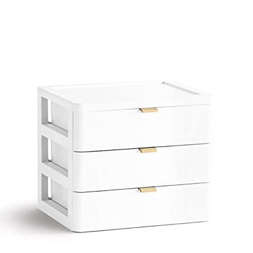 SHYPT Cajón Maquillaje Organizador Caja de Almacenamiento Caja de Almacenamiento plástico documento soldies Titular cosmético Almacenamiento Organizador Escritorio (Color : White)