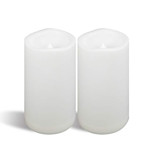 """Large Outdoor Waterproof Battery Operated Flameless Candle with Timer 2 Pack 4""""(D)x8""""(H) Big Plastic Resin Bright Flickering Electric LED Pillar for Lantern Patio Garden Home Party Wedding Decorations"""