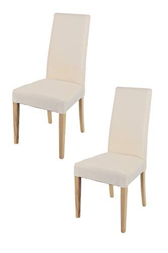 t m c s Tommychairs - Set 2 sillas Chiara para Cocina, Comedor, Bar y Restaurante, solida Estructura en Madera de Haya Color Natural y Asiento tapizado en Tejido Color Marfil