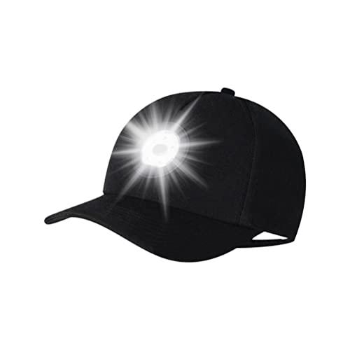 Mrisata Gorra de béisbol LED con luz LED de 3 niveles de brillo ajustable para correr al aire libre por la noche