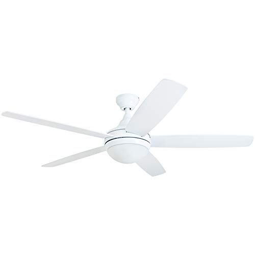 Prominence Home 80094-01 Ashby Ceiling Fan with Remote Control and Dimmable Integrated LED Light Frosted Fixture, 52' Contemporary Indoor, 5 Blades White/Grey Oak, Farmhouse White