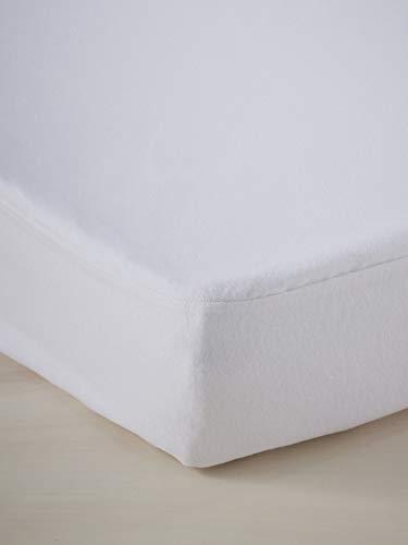 Vertbaudet Matratzenschoner für Kinder, 4 Jahreszeiten, mit Bi-ome®-behandelt, milbendicht, 90 x 190 cm, Weiß