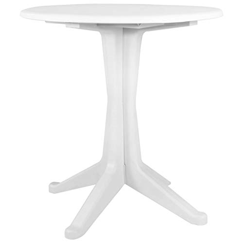 INLIFE Garden Dining Table Plastic Round Table for Patio Backyard Balcony Kitchen Dining Room Indoor Outdoor Furniture White 27.6x28.3Inches (DiameterxH)