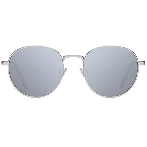 H HELMUT JUST Gafas de sol para Hombre y Mujer Redondas Vintage con Montura en Metal Plata Tipo Espojo Anti Reflejo