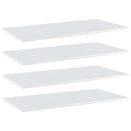 vidaXL 4X Bücherregal Brett Wandboard Wandregal Regal Regalboden Wand Board Ablage Hängeregal Schweberegal Hochglanz-Weiß 80x30x1,5cm Spanplatte