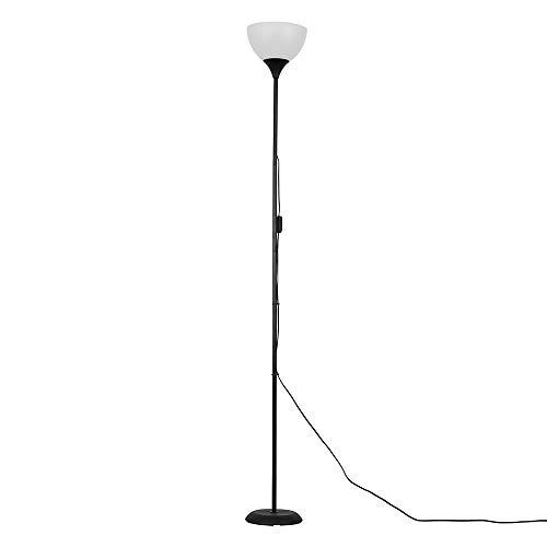 Modern Gloss Black Uplighter Floor Lamp with a White Shade - Complete with a 6w LED GLS Bulb [3000K Warm White]