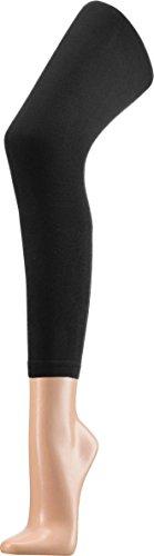 Wowerat Glatte Kinder Leggings aus Baumwolle   Single Jersey Farbe Schwarz Größe 140/146