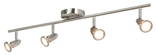 XiNBEi Track Lighting, 4 Light Spotlight Bar, Modern Straight Ceiling Track Light Brushed Nickel for Kitchen and Dining Room XB-C224-4-BN